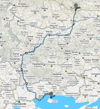 Travel Routes Bucharest-Thassos
